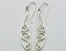 Silver earrings long drop curls