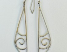 Silver Earrings Long Tri-Curl Scrolls